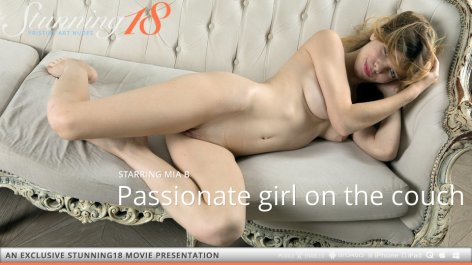 Passionate girl on the couch